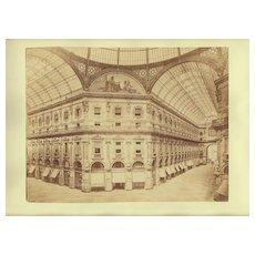 Antique Photo: Galleria Vittorio Emanuele II in Milan, Italy