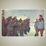 WWI: Russian Peasants salute to Austrian Uhlans. Vintage Postcard.