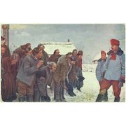 WWI: Russian Peasants salute to Austrian Uhlans. Vintage Postcard.