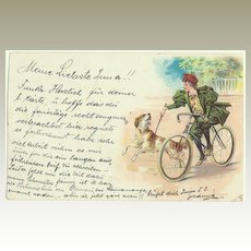 Lady on a Bike with Dog. Lithographed Postcard 1898