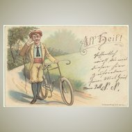 Antique Postcard with Biking Motif. Lithograph. 1899