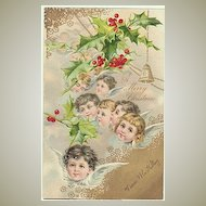Merry Xmas! Vintage postcard with little Angels. 1907