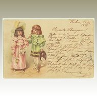 Cute Postcard from 1900 with 2 Girls dressed up in ancient Costumes