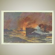 Postcard with Torpedo Ship. Red Cross 1916 WWI