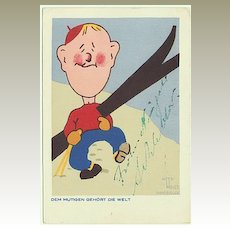 Happy Skiing. Funny vintage Postcard, Artist signed.