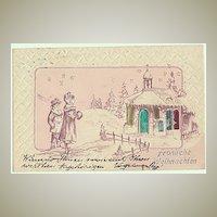 Merry Xmas: Embossed Postcard 1901.