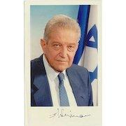 Ezer Weizman Autograph: Former President of Israel. Signed Photo. CoA