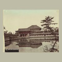 Old Japan, Temple Nara. Large Tinted Albumen Photo. Pre-1890