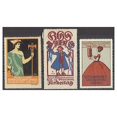 3 Art Nouveau Vignettes related to Fairs in Germany. Artist signed