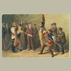 2 vintage Postcards related to Students. Fencing, Pledge to Loyalty.