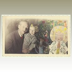 Tinted Christmas Vintage Photo with Angel as Postcard