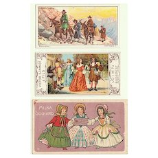 3 old Trading Cards Chocolate related.