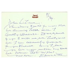 Edward Fox Autographed. Hand Written Message. CoA