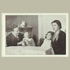 Engelbert Dollfuss with Family: Assassinated Chancellor. Vintage Postcard
