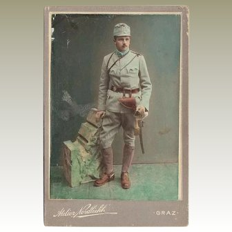 Soldier from 1. World War. Tinted Cabinet Photo
