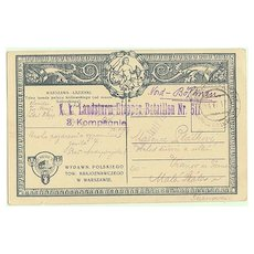 W.W.I: Old Poland: Military mail, scare Cancellation, 1917