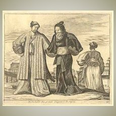 Japan: Antique Etching of Wealthy Japanese. 19. Century