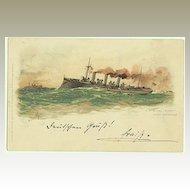 Vintage Postcard Steamer Aviso. 1898