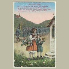 Children Playing  Soldiers marching  Vintage Postcard World War 1