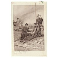 Priest blessing a wounded Soldier Vintage Postcard World War 1