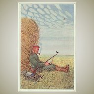 W.W.I.: Postcard of Soldier having a Time Out. Artist signed.