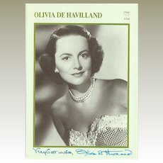 Olivia de Havilland Autograph. CoA