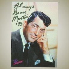 Dean Martin Autograph from 1993. CoA.