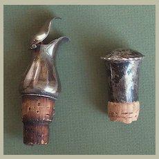 2 antique Silver Bottle Caps. Hall Marks.
