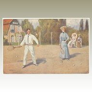 Tennis Players. Vintage Postcard from 1910