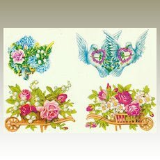 Four lovely Die Cuts, Flowers and Doves. App. 1910