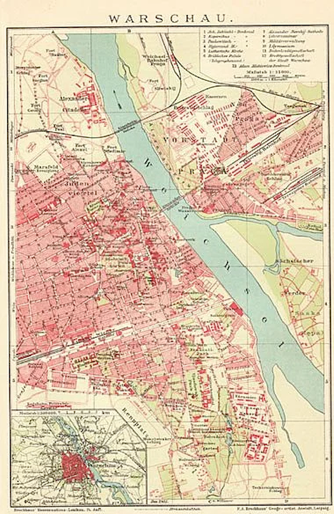 Poland 1900: Old Warsaw Map. Lithographed. on map of poland circa 1900, map of germany and poland, map of 1900 poland genealoy, map of concentration camps, map of ukraine and poland, detailed map of poland, map of poland with cities, map of podkarpackie poland, map prussia berlin, map of poland 1900 1920, map of warmia poland, map of jewish ghettos in poland, easy map of poland, map of ghetto in budapest, map of poland in polish, political map of poland, map of silesia poland, map of jewish ghetto wwii,
