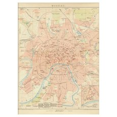Old Russia, Moscow: Lithographed Map from 1899