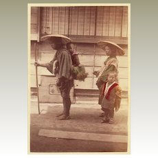 Japanese Albumen Photo. Family. 1880s
