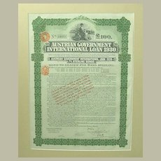 1930: Austrian Government International Loan for 100 Pounds