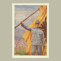 Patriotic Postcard, artist signed. Soldier and Flag.