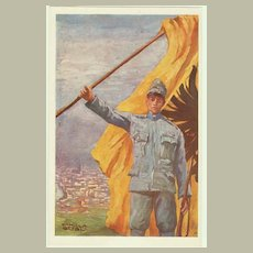 Patriotic Postcard, artist signed. Soldier and Flag.