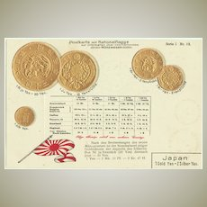 Old Japan. Embossed Postcard with Coins.