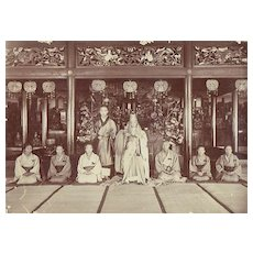 Old Japanese Photo. Buddhist Temple, Priest and Monks.