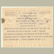 Authentic Telegraph to Imperial Austrian Family. Congratulations