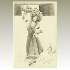 Art Nouveau New Years Postcard. Lady with Men and Piglets.