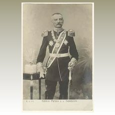 King Peter from Serbia. Old Portrait Photo.