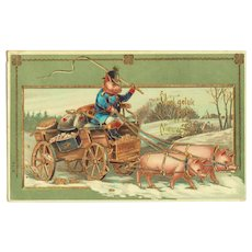 New Years Postcard with Pigs and Mail Car