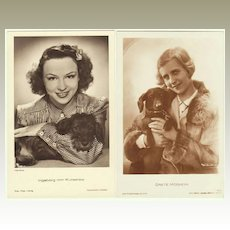 2 vintage photos of Movie Stars with their Dogs