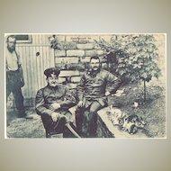 W.W.I.: Army Officers raising Bunnies.