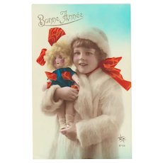 New Years Postcard Girl with Doll