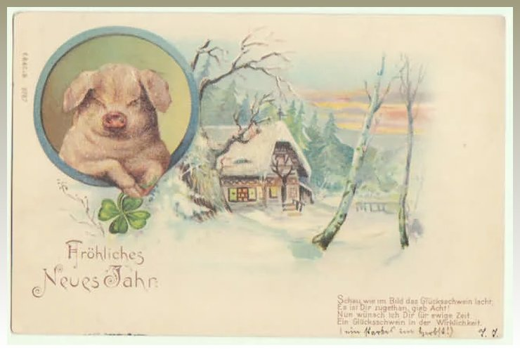 Happy New Year: Postcard with Pig, special technique : Collect at ...