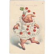 Funny New Years Postcard. Pig as Clown