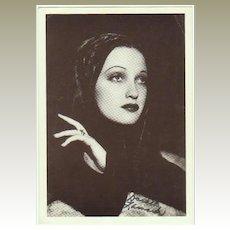 Dorothy Lamour Autograph on Postcard. CoA