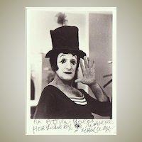 French Mime Marcel Marceau Autograph, CoA