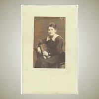 Girl with Teddy Bear. Old Photo